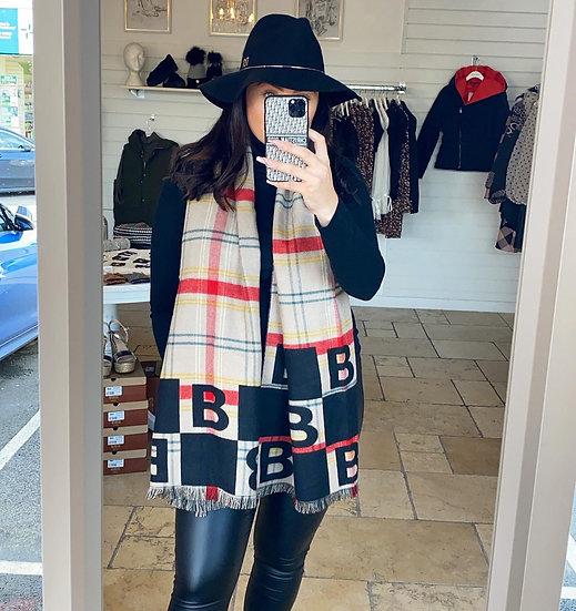 Black wooly B scarf