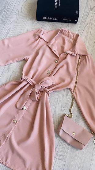 Shirt dress with bag