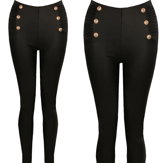 Leather look button leggings