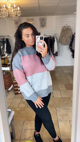Grey and pink jumper