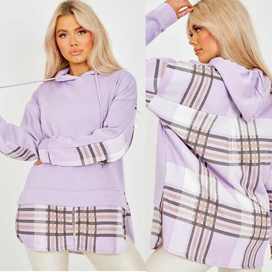 Lilac checked hoodie