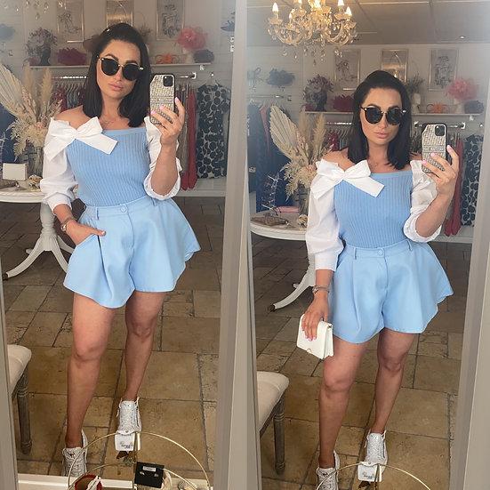 Blue flared shorts