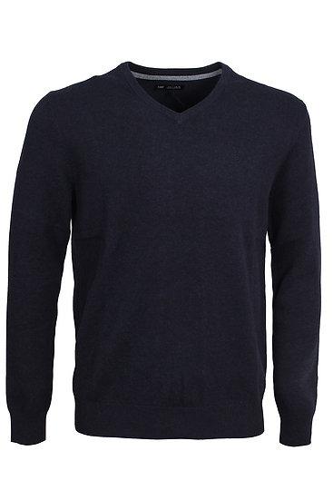 Men's plain V neck jumper