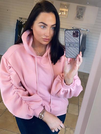 Spring pink ruched hoodie
