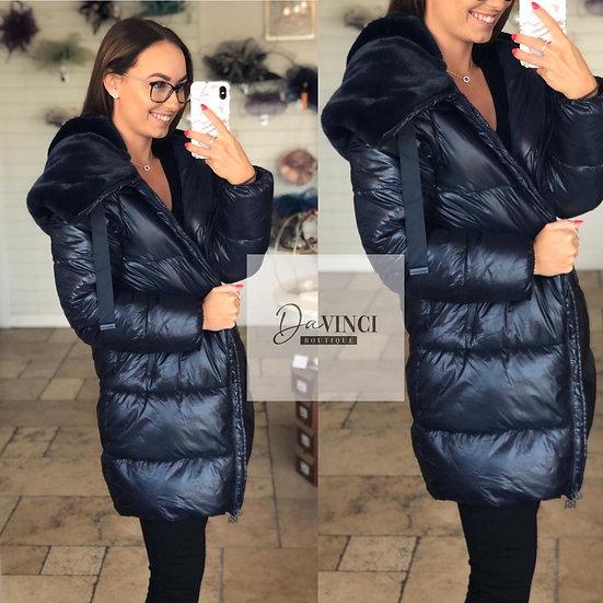 Navy faux fur puffer coat