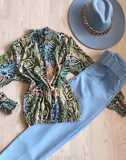 Animal print high neck blouse