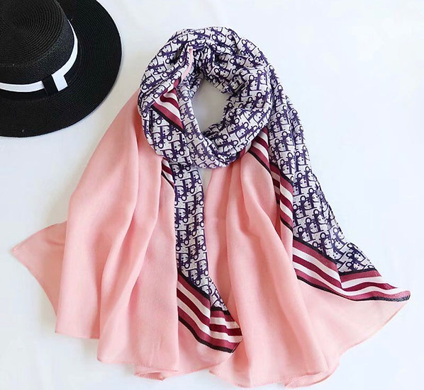 Pink & blue D scarf