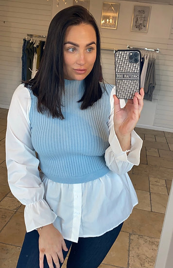 Spring blue shirt jumper