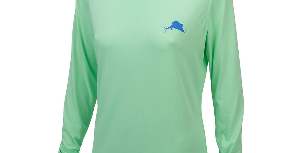 Pelagic Playera Dama Ultratek Hooded UPF Sun Shirt Verde