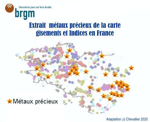 Extrait Ouest de la carte des gisements et indices miniers en France.