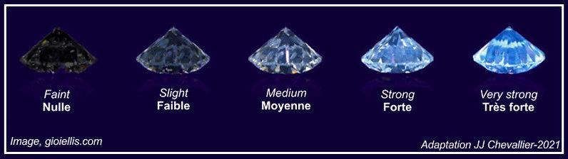 Echelle d'évaluation de la fluorescence du diamant.