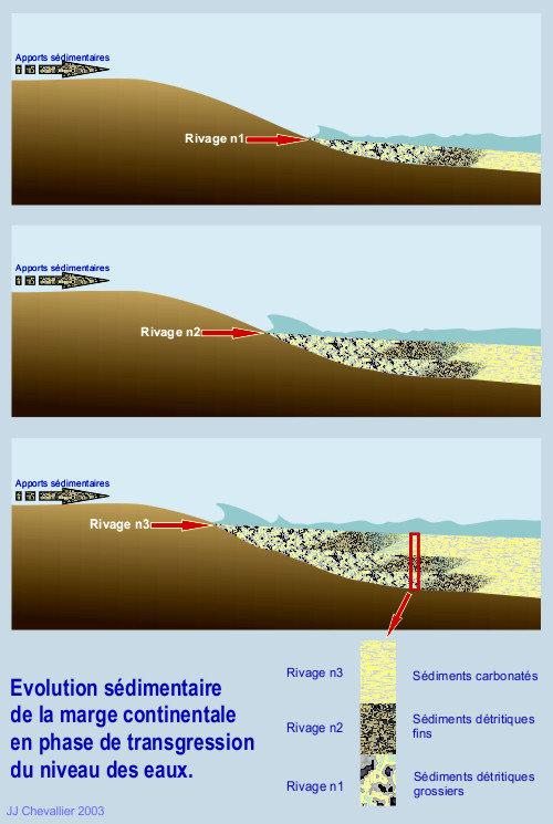 Evolution sédimentaire de la marge continentale en phase de transgression du niveau des eaux.