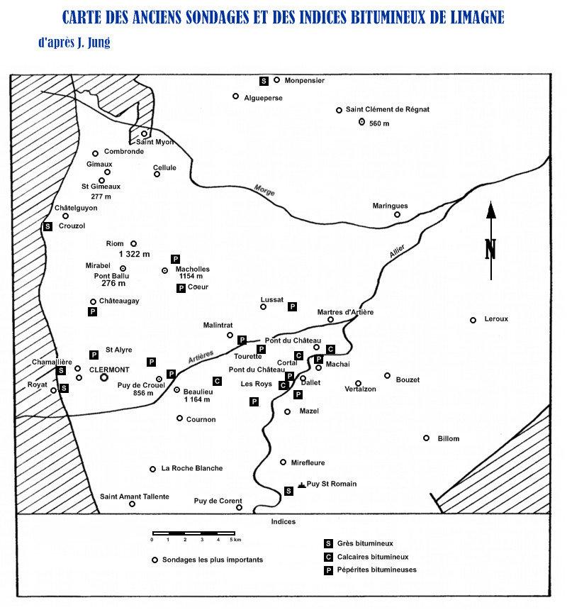Carte de Limagne des indices de bitume.