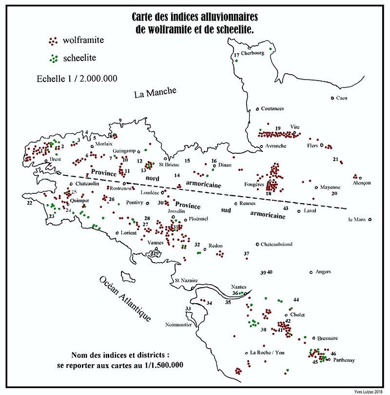 Carte des indices alluvionnaires de wolframite et scheelite.