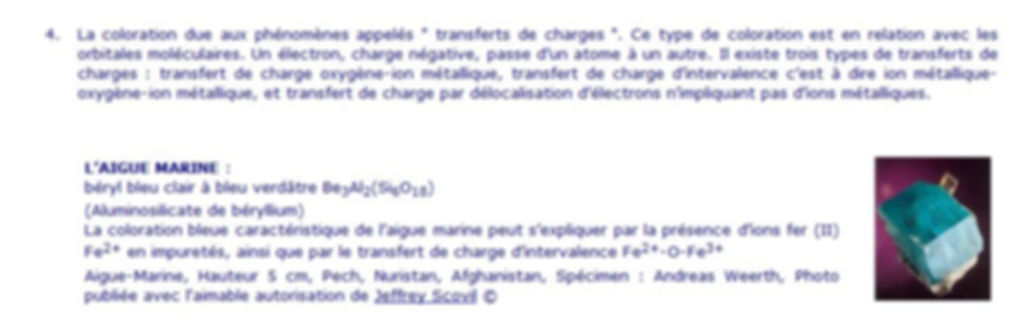 Coloration par transfert de charges, description.