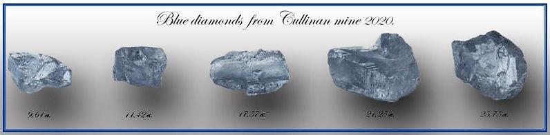 5 diamants bleus de la Cullinan mine, 2020.