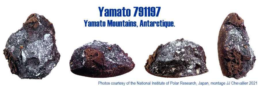 Météorite lunaire Yamato 791197, 4 vues.