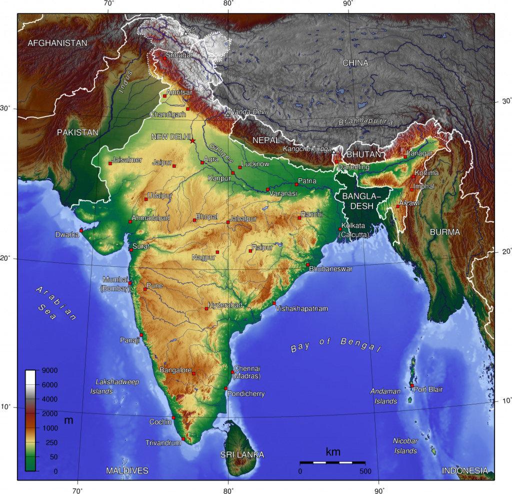 Carte des reliefs de l'Inde