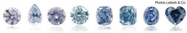 Nuances des diamants bleus.