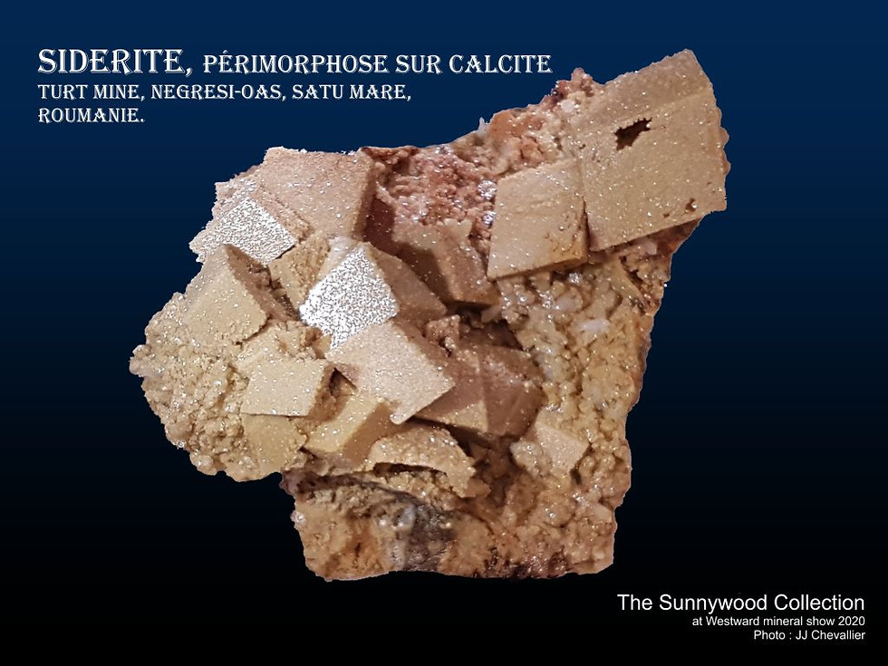 Siderite, périmorphose sur Calcite.