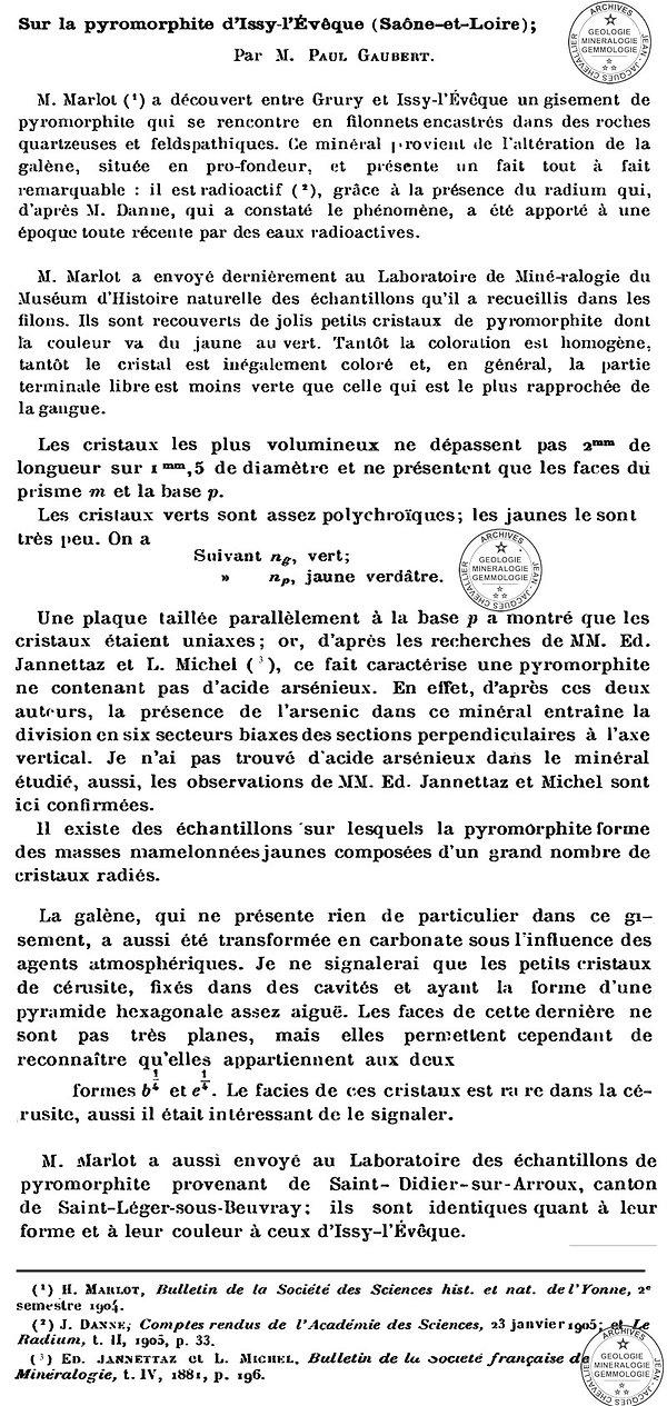Pyromorphite des Dorains, Paul Gauber.