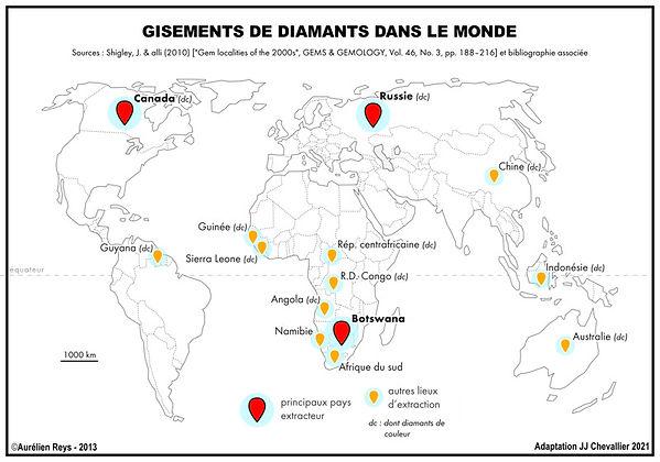 Kes grands gisements de diamant dans le monde.