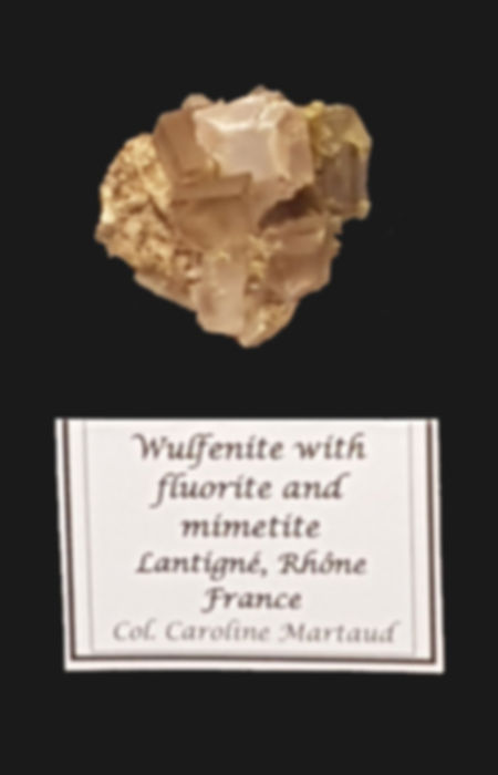 Wulfénite et fluorite, Lantigné, collection C. Maraud.