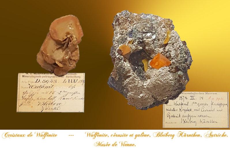 Wulfénites de bleiberg, collections anciennes du musée de Vienne.