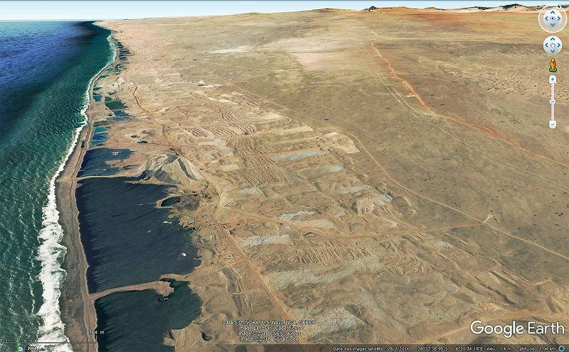 Namibie placers diamantifères.