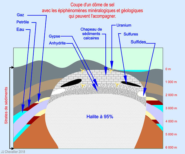 Coupe d'un dôme de sel avec les épiphénomènes minéralogiques et géologiques qui peuvent l'acompagner.