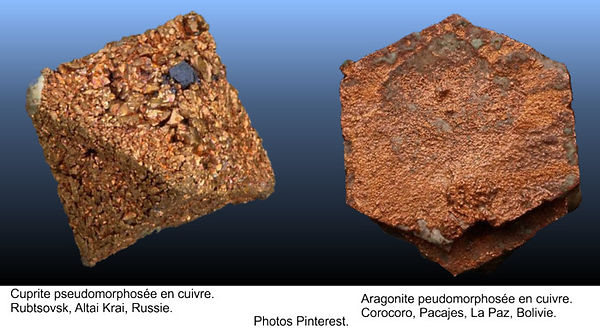 Cuprite et aragonite pseudomorphosés en