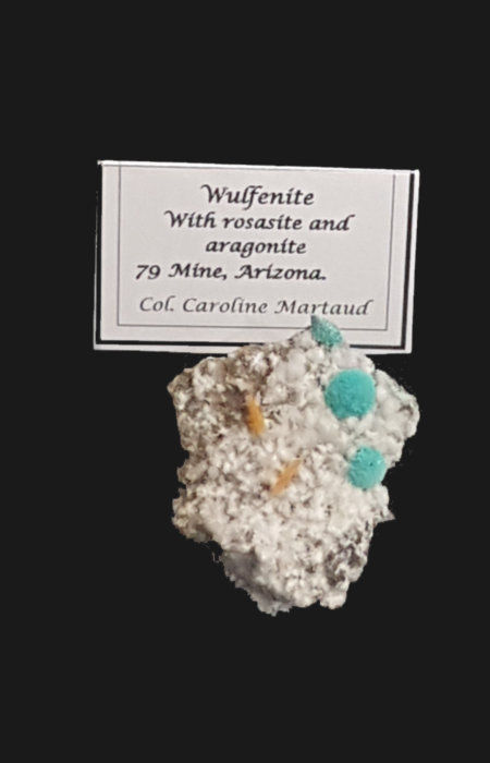 Wulfénite, rosacite et aragonite, mine 79, Arizona, collection C. Maraud.