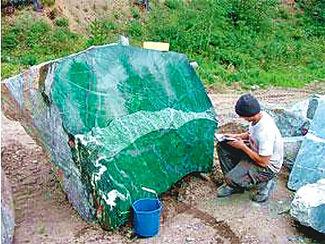 The Polar pride, un bloc de néphrite de 18 tonnes trouvé en Colombie Britannique, Canada.