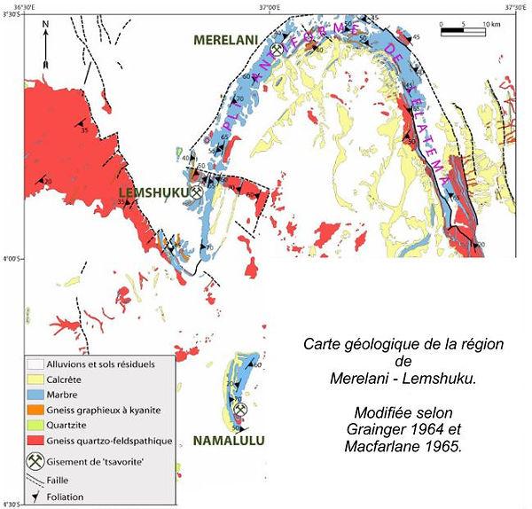 arte geologique de la région Merelani et Lemshuku.
