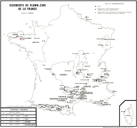 Gisements Pb Zn en France.