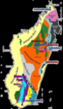 Carte géologique simplifiée de Madagascar