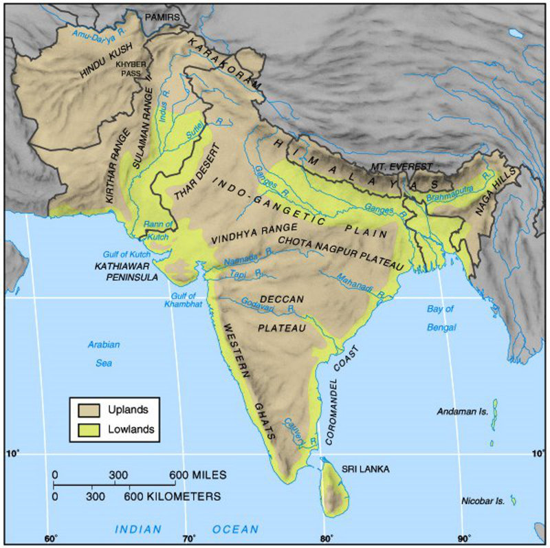 Carte des espaces de l'Inde.