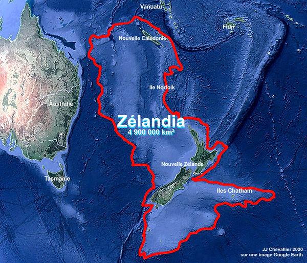 arte contours du continant Zealandia.