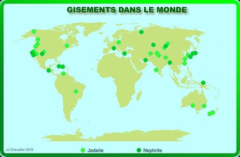 Les gisements de jadéite et néphrite dans le monde.