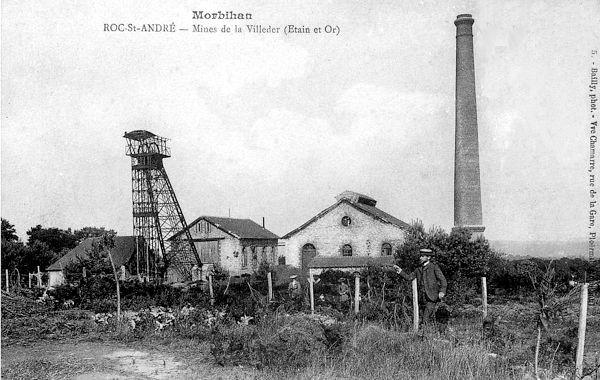 Mine d'or et étain La Villedere, Morbihan.