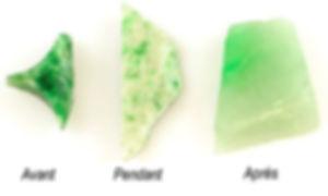 Le traitement de la jadéite, en 3 stades.
