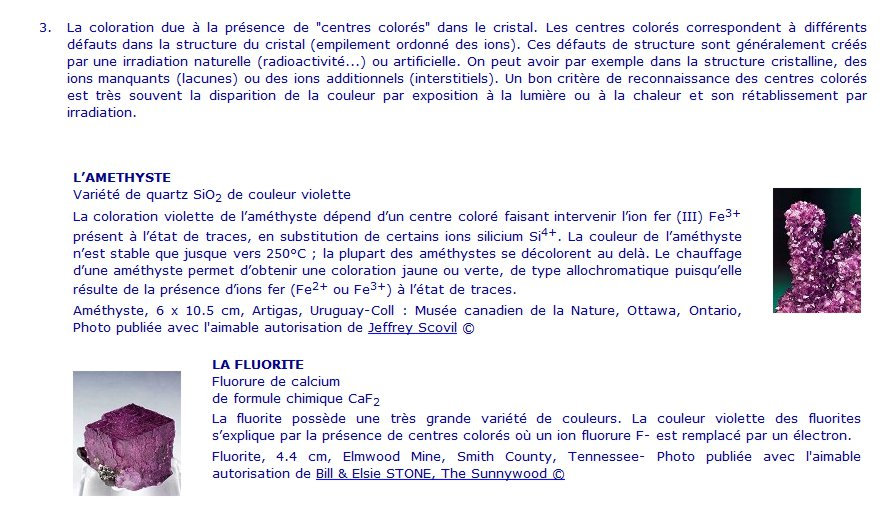 Centres colorés, description.