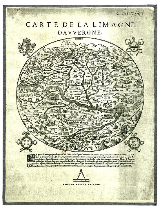 Carte de la Limagne d'Auvergne, de Gabriello Siméoni, du  « Riche et Ancien Pays d'Auvergne »,  1560.