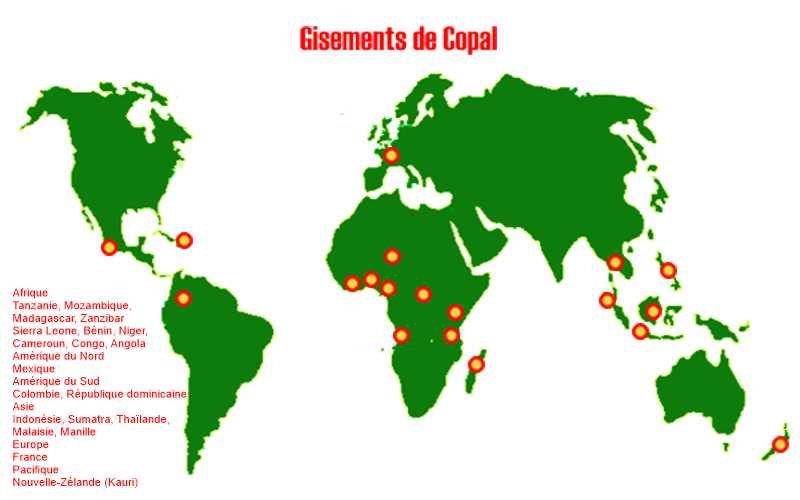 Gisements de Copal dans le monde