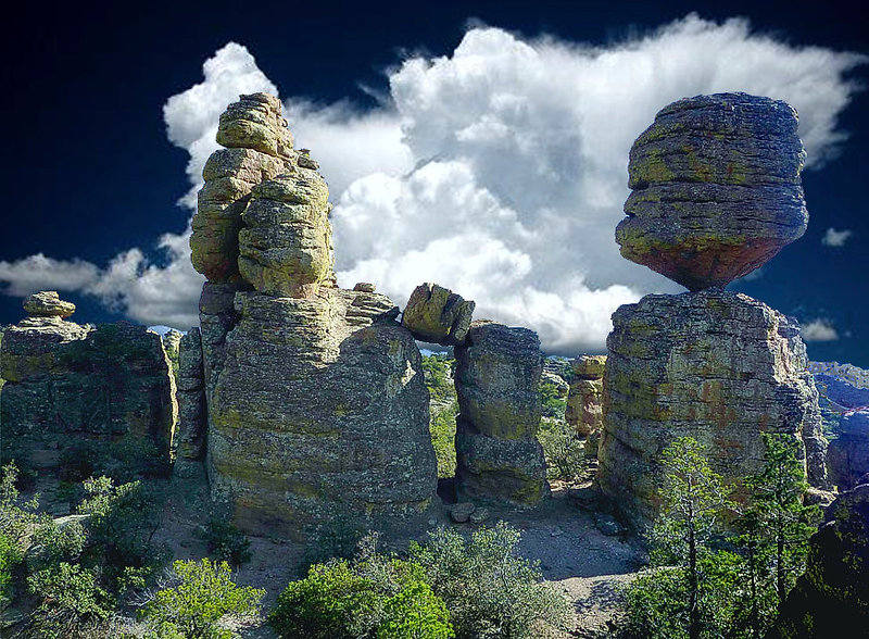 One of the big balanced rocks - Chiricahua.