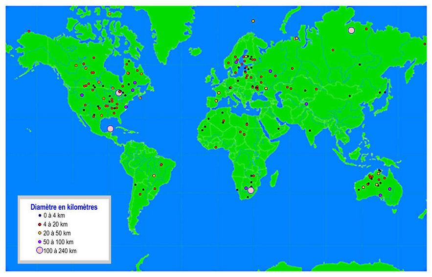 Carte des chutes de grosses météorites