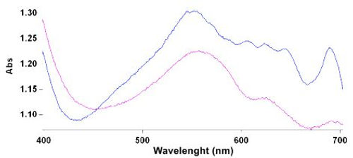 Spectre d'absorbtion d'un beryl violet maxixe.