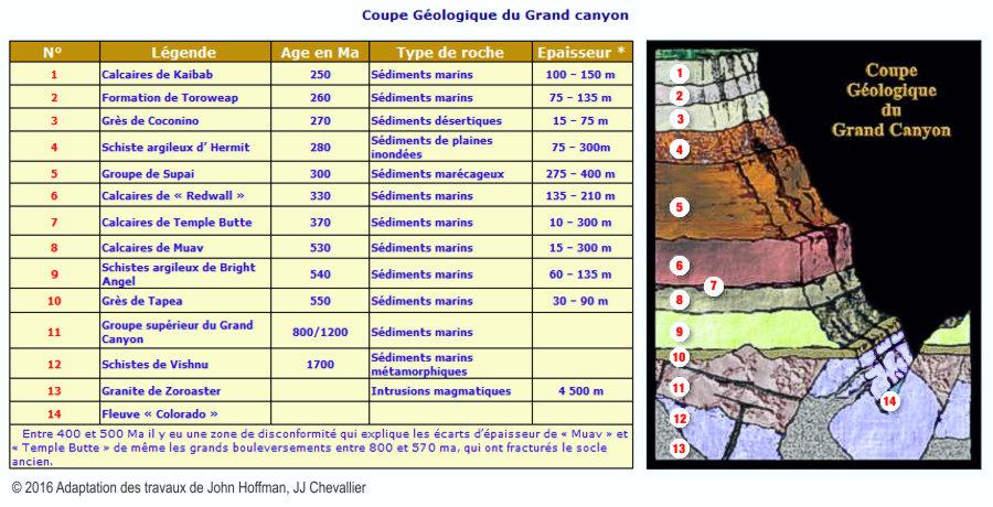 Coupe géologique stratigraphique du Grand canyon