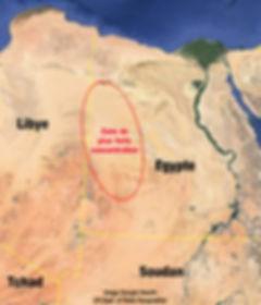 Carte de la zone de plus forte concentration de verre libyque