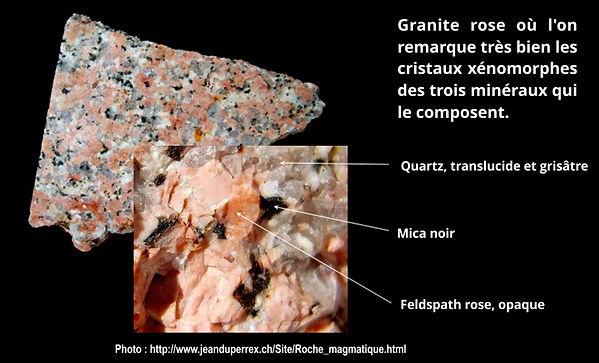 Minéraux xénomorphes dans le granite